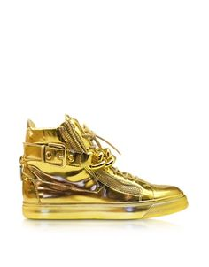 Forzieri Giuseppe Zanotti Gold Metallic Leather High-Top Sneaker