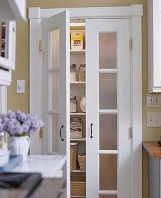 Frosted-glass double interior doors - perfect for doorway between kitchen & laundry room or pantry.