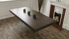 Large Dark Wood and Glass Dining Table 200 cm length x 100cm wide £499