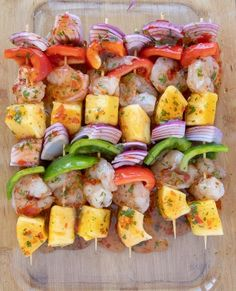 When you're ready to spice up dinnertime try my Grilled Shrimp and Pineapple Skewers Recipe. The spicy sweet chili sauce will have you coming back for seconds. What are you grilling this week? Shrimp Kabob Recipes, Grilled Shrimp Skewers, Veggie Skewers, Skewer Recipes, Seafood Recipes, Grilled Prawns, Fish Recipes, Kabobs, Barbecue