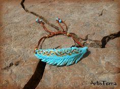 Blue Mint Feather Bracelet With Golden by ArtisTerraBoutique, $18.00
