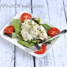 Chicken Salad with Thyme - lighter and healthier version of chicken salad with excellent flavor| APinchOfHealthy.com