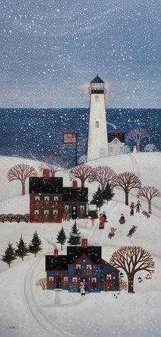 Coastal Christmas ...Christmas Hill Inn 7.75x15.75 - Diana Card