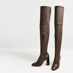 Image 7 of OVER-THE-KNEE HIGH HEEL LEATHER BOOTS from Zara