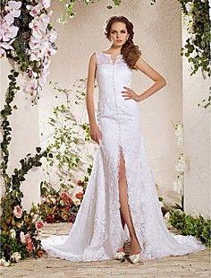 Charming A-line V-neck Chapel Train Lace Wedding Dress  – USD $ 176.99