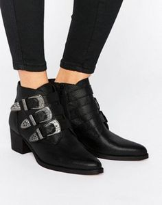 ASOS RYDER Leather Buckle Ankle Boots