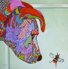 Bee My Buddy, contemporary abstracted dog painting, painting by artist Carolee Clark