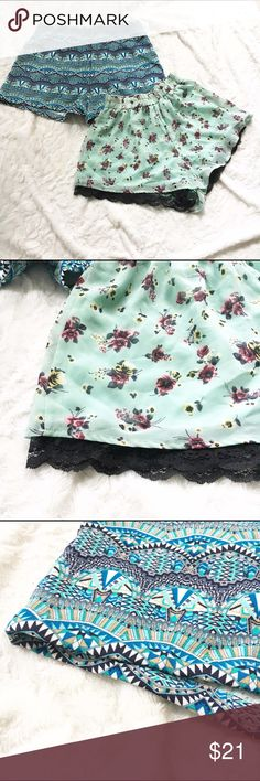 """TWO PAIR Printed shorts (F21/LUSH) Two pair of super cute Printed shorts the Aztec Printed shorts are from forever 21 and the floral Lace shorts are from Lush. Both size small. Measurements for both below.                               F21 shorts (laying flat): Waist- 13"""" Length-12"""" Inseam- 3"""".                                                              LUSH shorts (laying flat): Waist-10"""" (waist stretches) Length-11"""" Lush Shorts"""
