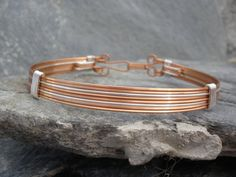 Mens Copper Square Wire Bangle Bracelet Cuff with by chloebristow, $25.00