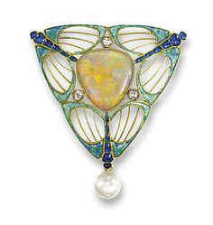 AN ART NOUVEAU OPAL, PEARL AND ENAMEL BROOCH, BY GEORGES FOUQUET   The triangular-shaped opal set within an openwork frame depicting three blue and green enamel stylised dragonflies, interspersed with three rose-cut diamonds to the pearl drop, pearl untested, circa 1900, 4.3 cm long  Signed G Fouquet