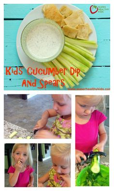 Kids Cuvumber Dip And Spears - Kids in the kitchen! Make sure to start them with this veggie and dip to learn vital cutting skills! http://www.superhealthykids.com/kids-cucumber-dip-and-spears/