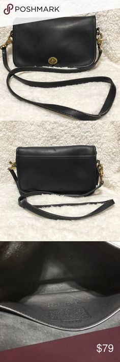 """Authentic Vintage Coach Pocket Purse 9755 Good used condition. Measurements are approximately 9.5"""" long, 6"""" tall, 2"""" deep. Shoulder strap approximately 46"""" long. Coach Bags Crossbody Bags"""