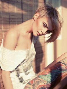 Short hair, long bangs, buzz cut