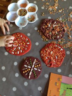 Patterns on playdough using natural grains - Butterflies Childminding ≈≈
