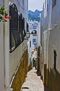 Very narrow street in Mojacar, Spain