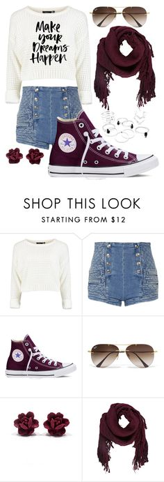 """""""lets be real, dreams r better than life"""" by jade-stryker ❤ liked on Polyvore featuring Pierre Balmain, Converse, Ray-Ban and Ulla Johnson"""