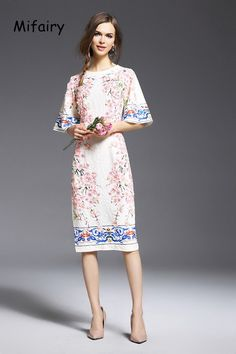 High End Half Sleeves Brand Style Runway Dresses Fashion Solid Peach Blossom Petals Embroidery Jacquard Cotton Dresses Women