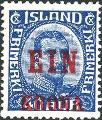 Первые почтовые марки Исландии вышли в 1873 году. При необходимости на них делались надпечатки новых номиналов.