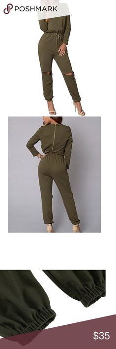 Army Green Long Sleeve Jumpsuit Romper 95% Cotton and 5% Spandex Featuring elastic waist with adjustable drawstring, ripped knee design Other