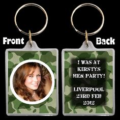 With x sized personalised inserts inside. You may change any colou rs on the keyring design (I can print any COLOURS you like. A fter ordering your required keyring quantity you can then send a photo, the. Hen Night Ideas, Hens Night, Personalised Keyrings, Personalized Items, Photo Keyrings, Uk Health, Army Camouflage, 30th Birthday Parties, Party Bag Fillers