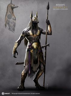 Anubis Warrior Assassin's Creed Origins: Curse of the Pharaoh 7 Egyptian Mythology, Egyptian Art, Egyptian Things, Egyptian Anubis, Egyptian Goddess, Egypt Concept Art, Foto Fantasy, Anubis Tattoo, Assassins Creed Origins
