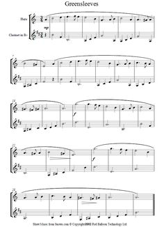 flute-clarinet duet greensleeves sheet music - 8notes.com