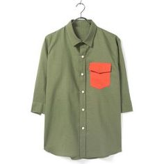 Casual Style Turn-down Collar Pocket Embellished Color Block Men's 3/4 Sleeves Polyester Shirt