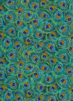 1 Yard Cotton Fabric - Timeless Treasures Metallic Fancy Peacock Feathers #TimelessTreasuresFabric