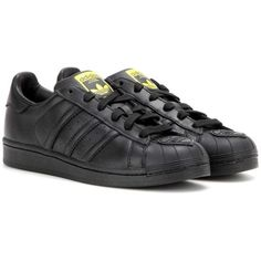 adidas Originals = Pharrell Pharrell Superstar Supershell Leather... found on Polyvore featuring shoes, sneakers, adidas, black, flower print shoes, black trainers, flower print sneakers, black leather trainers and floral shoes