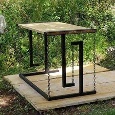 Garden Furniture Design, Simple Furniture, Diy Outdoor Furniture, Funky Furniture, Steel Dining Table, Wood Table, Diy Table, Arte Pink Floyd, Floating Table