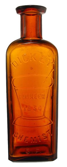 DICKEY CHEMIST S.F. PIONEER 1850 WITH MORTAR AND PESTLE. 5 ¾ inches in height. These common bottles are more often seen in colors of blue -
