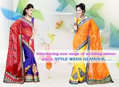 Saree Wedding, Orange, Yellow, Online Shopping Stores, Salwar Suits, Cobalt Blue, Cod, Coupon, Glamour