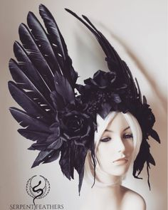 Raven Rose Headdress - black feather crown costume wings roses cosplay burning man angel festival cosplay wings dark goth by Serpentfeathers on Etsy https://www.etsy.com/au/listing/541654167/raven-rose-headdress-black-feather-crown