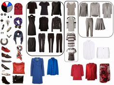 capsule wardrobe black grey red blue