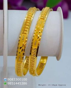 Plain Gold Bangles, Solid Gold Bangle, Ruby Bangles, Gold Bangles Design, Gold Plated Bangles, Gold Jewellery Design, Gold Jewelry Simple, Gold Wedding Jewelry, Gold Kangan