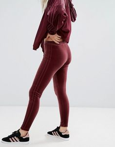 adidas Originals Velvet Vibes Leggings In Maroon - Red
