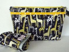 Diaper Clutch Changing Pad Set with Zipper and Pockets - Grey and Yellow Giraffte - Nappy Clutch - Michael Miller Print