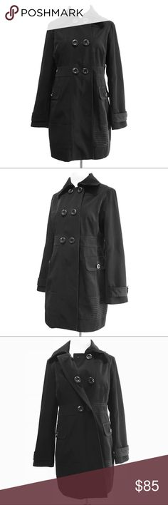 Black Coat Size S Trench Double Breasted Heavy Jones New York Pockets Inner Button Down Classic Collar Solid Color Jones New York Jackets & Coats Trench Coats