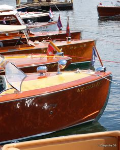 All Lined Up Vintage Wooden Boats