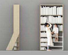 This bookcase has built-in stairs to reach the upper shelves. Clever.