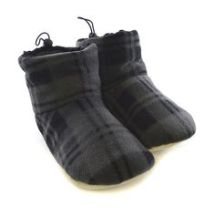 Amazon.com: Mens Check Pattern Slouch Style Fleece Slipper Boots (8 US) (Grey): Shoes