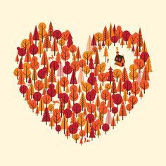 nature, love, heart, animals, wolf, deer, rabbit, bird, mushrooms, trees, forest, wood, woodland, lumberjack, spirit, life, live, autumn, fall, mother nature, print, poster, cool, art, illustration, gift, present, wild, free, freedom, explore, outdoors, wharton,