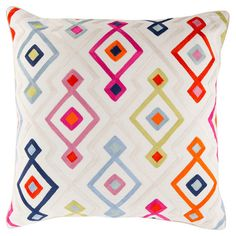 Bring a pop of style to your sofa or favorite reading nook with this chic cotton pillow, featuring a geometric print in tangerine.