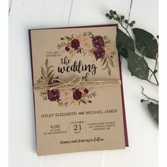 Rustic Marsala Kraft design is perfect for your, rustic, boho chic wedding! Impress your wedding guests with this gorgeous & professionally designed custom wedding invitation suite featuring a stunning combination of a calligraphy font, beautiful marsala floral design,and twine What's Included: invitation printed