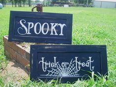 Black Halloween signs