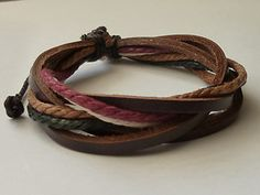 Mens Leather and Hemp Surfer Wristband