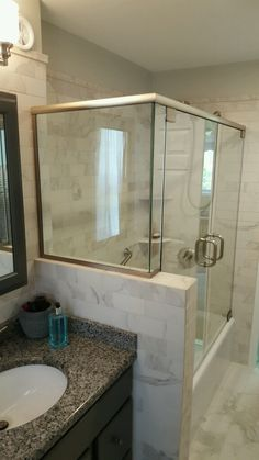 Double Door Glass Shower w/ Header and Channel - Brushed Nickel
