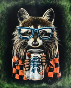 Hipster Raccoon- Scratchboard Print This and Pug Life are my two new favorite pieces of art. She can even do bigger sizes if you ask.