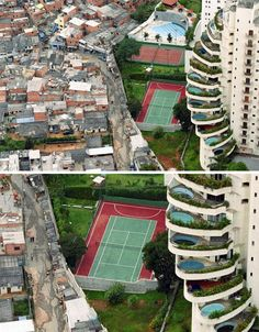 This aerial photograph of the 'Paradise City' area of San Paulo, Brazil, illustrates the division between rich and poor in the world in a way rarely seen so starkly in photographs – compare the sizes, shades and textures of what you see – could anything be more different?