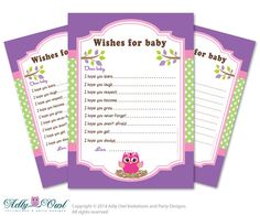 Girl  Owl Wishes for a Baby Shower, Well Wishes Green Purple Baby Owl Shower DIY Polka- ONLY digital file - ao05bspg6